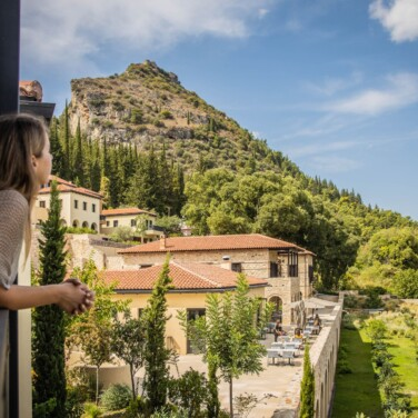 Euphoria Executive Suite Balcony with Valley View and Mystras Castle View